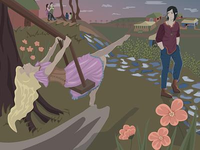 vector illustration | Sunset, romance and flowers романтика закат атмосфера design персонаж лес векторная графика