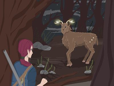 vector illustration   the hunt didn't take place лес животное вечер иллюстрация атмосфера векторная графика