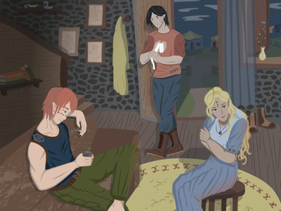 Everyone know jealousy вечер атмосфера окружающая среда иллюстрация фантазия персонаж диджитал арт компьютерная графика векторная графика