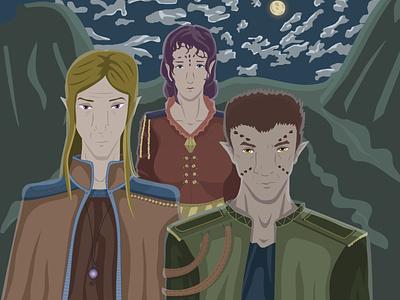 lords of the world Avol фэнтези 2d окружающая среда вечер персонаж векторная графика