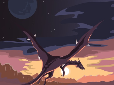 Dragon illustration вечер 2d персонаж векторная графика