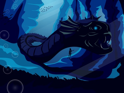 Underwater monster design диджитал арт 2d атмосфера иллюстрация векторная графика