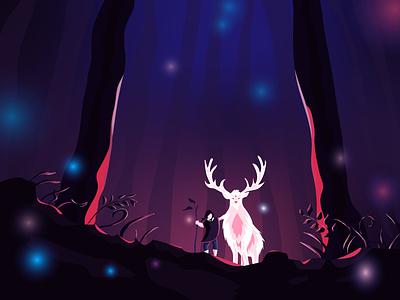 Mysterious forest закат фантазия диджитал арт лес вечер персонаж векторная графика