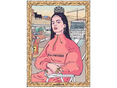 La Monalía character illustration balenciaga vector spain parish art frame paris louvre monalisa rosalia