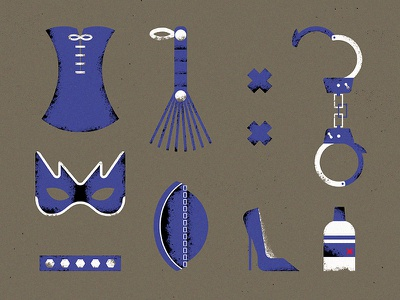 Sado-kit handcuffs corset whip shoe cap sex sad collar tape texture grunge vector