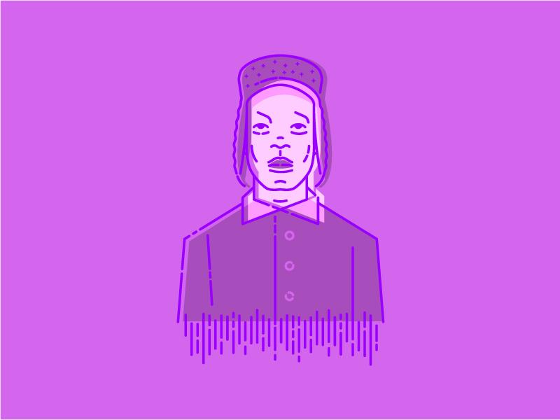 PURPLE A$AP purple vector portrair hip hop mc rapper asap rocky