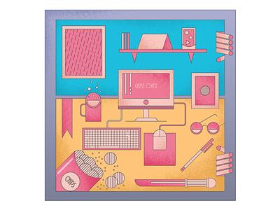 Workspace flat grunge vector sunglasses keyboard computer mouse designer workspace
