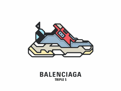 The Dad Shoe brand colors flat icon vector sneakers shoe fashion triple s balenciaga