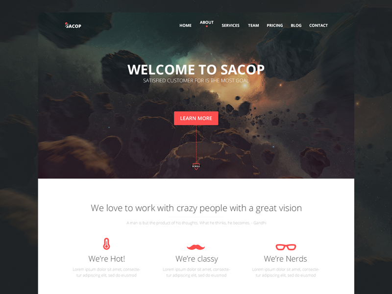 Sacop - One page Template web sacop one page red clean