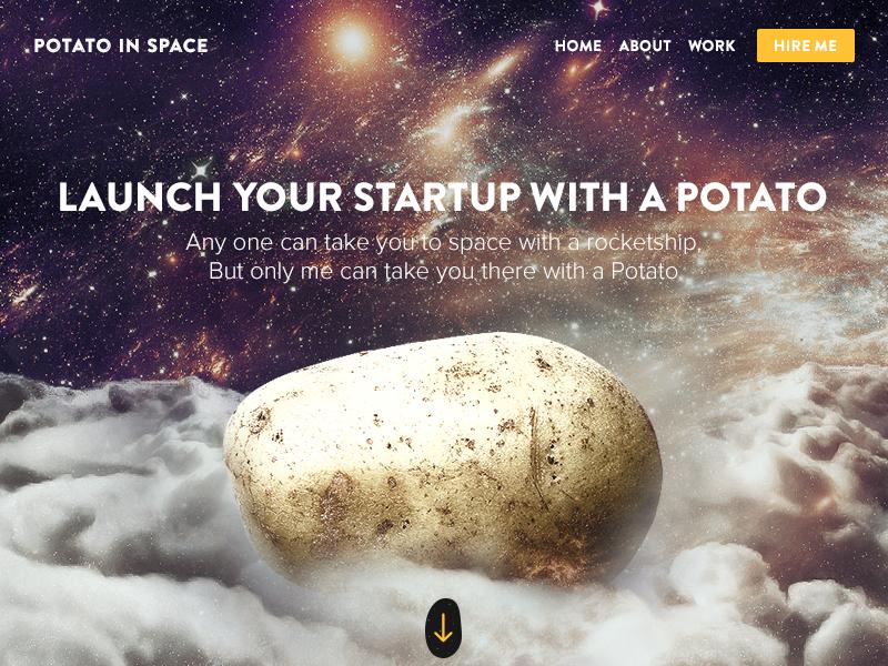 Potato In Space potato space freelance portfolio start up rocket clouds