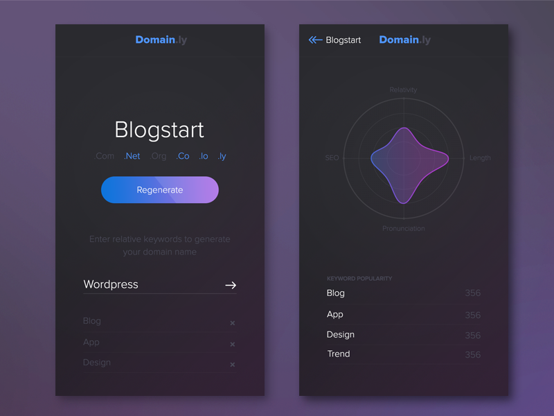 Domain Generator | App Design blue purple domain ios app