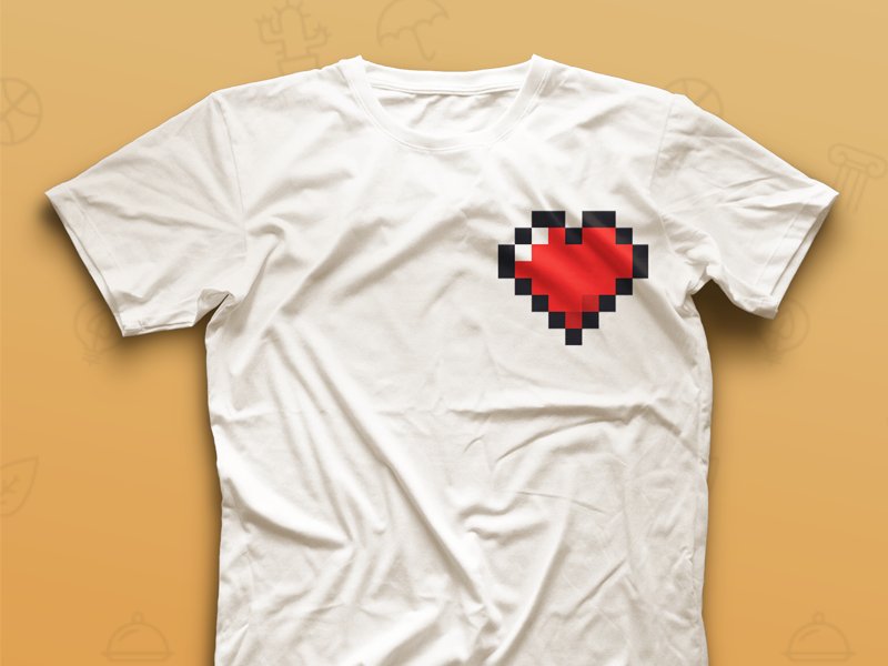 Pixel Heart T-shirt white red t shirt heart pixel
