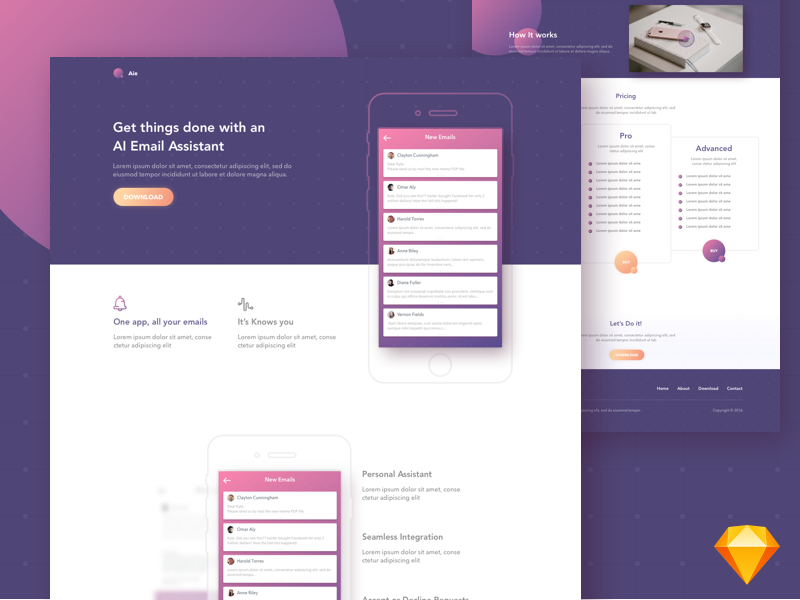 Aie - Free app landing page template email purple free download sketch freebie template aie