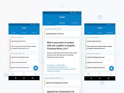 Task List ux ui list to do mobile material tab task