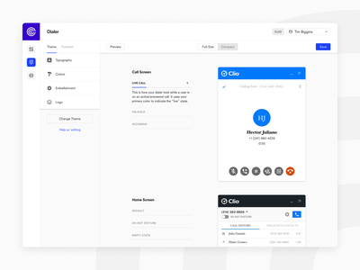 Callstring – Dialer Theming saas product design modern minimal ui