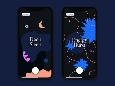 Illustrations — Guided Meditation App ios app mobile app meditation dark abstract illustration ui