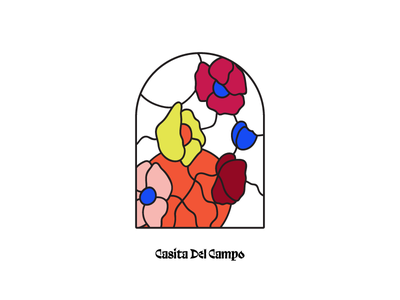 Casita Del Campo - Stained Glass Window Illustration line floral illustration