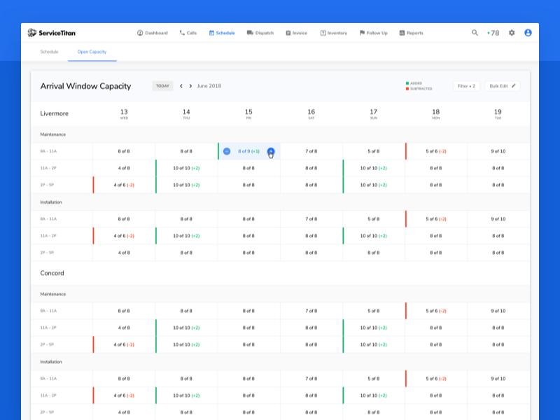 Scheduling – Capacity Management calendar software saas scheduling dashboard ui