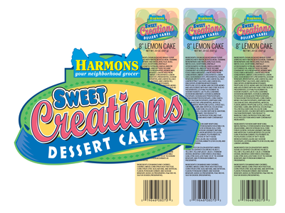 Harmons Sweet Creations Dessert Cakes branding concept brand identity logo design vector branding and identity cake branding design branding logo