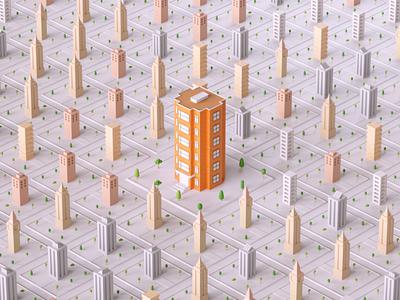 My ProFlow Motion Graphics #1 motiongraphics tree orange cloner town building city 3d ilustration 3d animation cinema4d