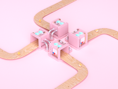 My ProFlow Motion Graphics #2 pipe minimal ball wood pink device factory illustration 3d ilustration 3d animation cinema4d