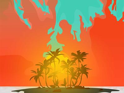 Landzcape Sunset vector illustration illustration vectorart vector landscape illustration landscaping landscape design landscapes landscape