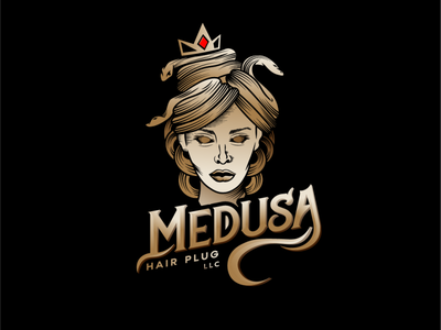 Medusa Hair Plug vector branding design vintage logo logo design illustrator illustration branding