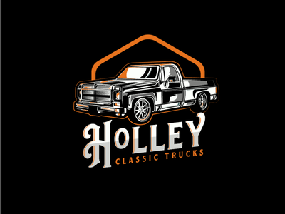 Holley Classic Trucks logo illustrator typogaphy vector car vintage logo branding design logo design illustration