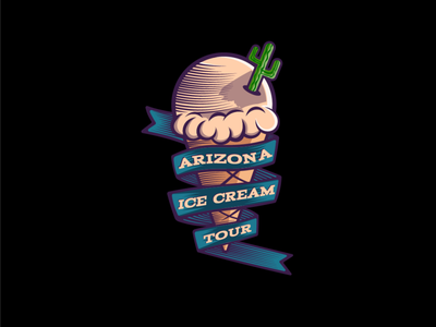 Arizona Ice Cream Tour icon icecream vintage logo logo vector branding design illustrator illustration