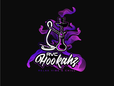 RVC Hookahz tshirt purple gradient typography vector logo design branding design illustrator illustration club logo shisha hookah