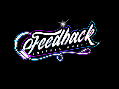 Feedback Entertainment music branding typography design logo