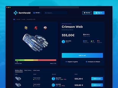 ItemHerald webdesign skins trading item details esports gaming cs:go dota tf2 marketplace ux ui