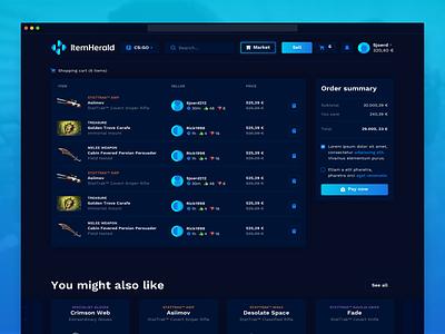 ItemHerald ui ux marketplace tf2 dota cs:go gaming esports item details trading skins webdesign
