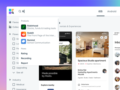 Klues.app - Search app user interface ux design design research saas dropdown design patterns user flow library search ui ux