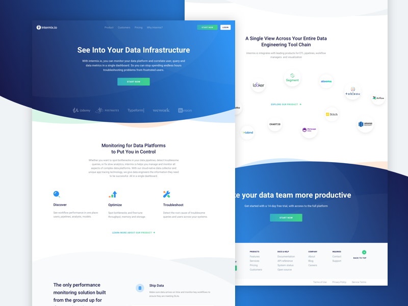 Intermix.io Landing Page green blue gradient infrastructure server redshift data intermix landing page ux ui