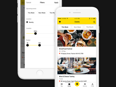 Food App - Events & Filters ios app food food truck map details mobile search listing