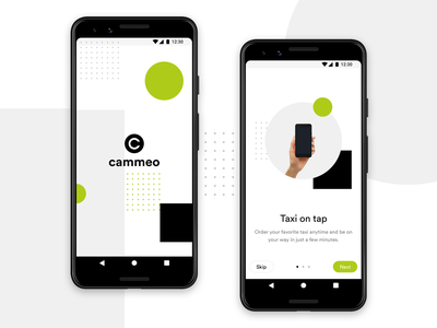 Cammeo - Splash & Onboarding lyft uber ride ridesharing mobile app ui  ux design taxi android app android app ux ui