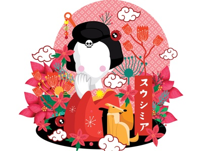 geisha for sale artwork poster design logo art flat illustrations illustration artworks illustration art