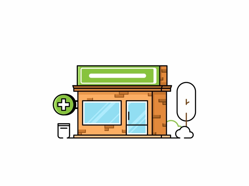 Pharmacy colorful design illustration architecture pills medicine shop medicines shipping pharmacy medical line icon building