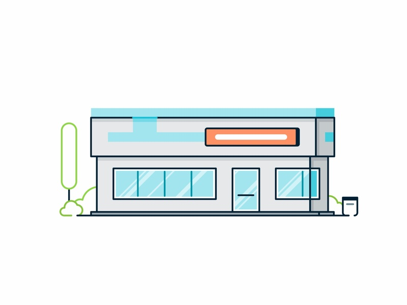 General practitioner help hospital shop shipping pills pharmacy medicines medicine medical line illustration icon l design colorfu building architecture