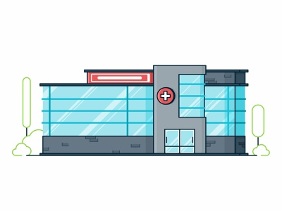 Hospital shop shipping pills pharmacy medicines medicine medical line design illustration icon hospital help colorfu building architecture