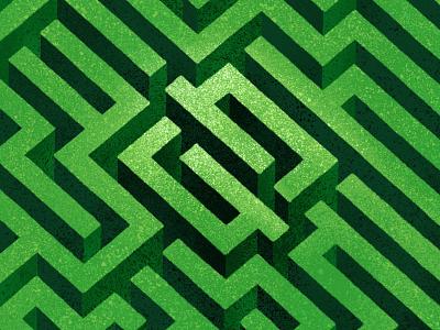Grass Maze isometric 3d walls typography lettering neopix logo design illustration draw brush procreate topview thousand texture maze labyrinth green grass dissolve