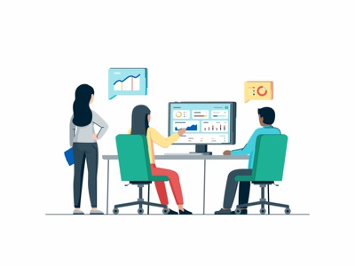 Customer Success customer success user peoples coworking connection statistic interface web user interface website ui tecnology sign up web page gradient collaboration coder cloud characters business people