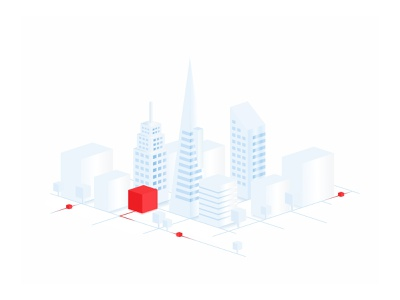 Frame Main Illustration vector skyrise perspective graphic flat town city gradient workspace work street price position points office location linear isometric ilustration buildings