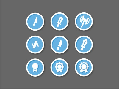 Achievement badges weapons weapon war vector minimal line level up leveling knife illustration icon set icons flat fantasy drawing defeat dagger battle axe