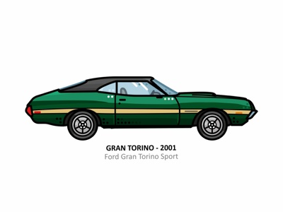 Gran Torino vehicle vector truck speed steel engine outline motorsport line illustrator icon fast iconic movies car dots design car ford torino