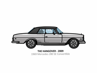 The Hangover vehicle vector taiger steel speed outline 1969 mercedes line illustrator movies iconic icon fast engine dots design car