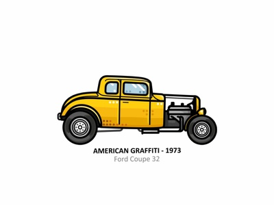 American Graffiti 1973 george lucas ford ford coupe 32 vehicle vector steel speed outline movies line illustrator iconic icon fast engine dots design car american graffitis