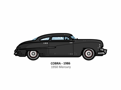 Cobra 1986 american action film vehicle vector steel speed outline movies line illustrator iconic icon george p. cosmatos 1950 mercury cobra movie engine dots design car cobra 1986