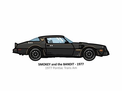 Smokey and the Bandit 1977 pontiac trans am vehicle vector steel speed outline movies line illustrator iconic icon engine dots design movie car film action american smokey and the bandit 1977